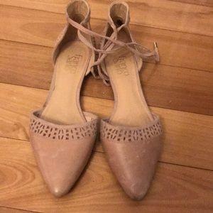 Blush tie ankle flats